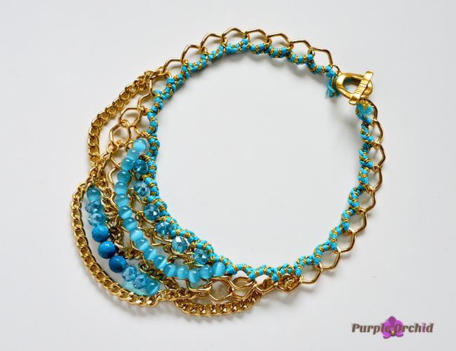 Naszyjnik złoto niebieski